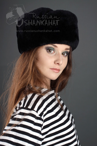 Black Fur Hat   Womens Faux Fur Russian Ushanka Hat with Officer ... 4798d30bd22