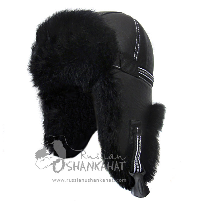 Russian Natural Black Rabbit Fur & Leather Aviator Hat - Premium Quality