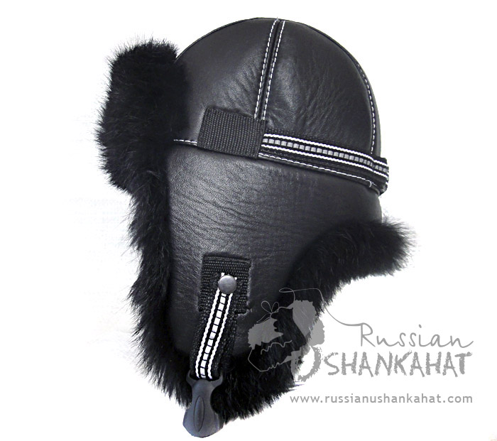 dd36079a28092a Russian Natural Black Rabbit Fur & Leather Aviator Hat - Premium Quality
