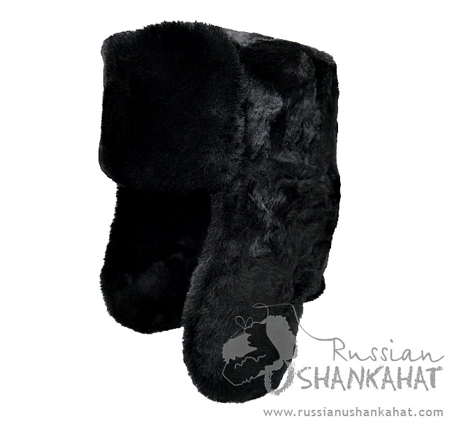Premium Quality Ushanka - Sheepskin Hat - Black - with Army Badge