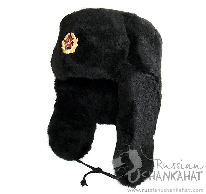 Black Fur Hat   Faux Fur Hat Russian Ushanka with Badge - Black ... caa564e357e