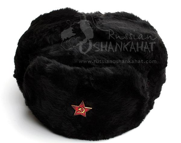 d5132f563ba Black Fur Hat   Black Ushanka Russian Red Star Badge