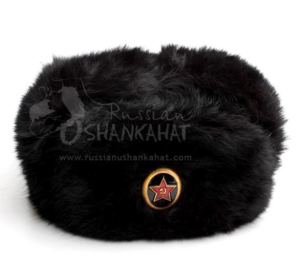 93c7cd41f28cd Black Fur Hat   Fur Hat - Rabbit Fur Ushanka - Black - Soviet Marine ...