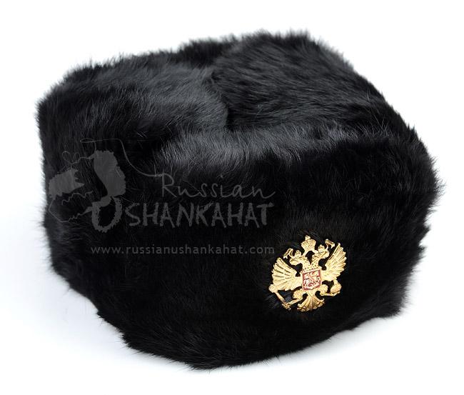 4f15ceea Black Fur Hat : Shapka - Ushanka Hat - Black Rabbit Fur - Russian ...