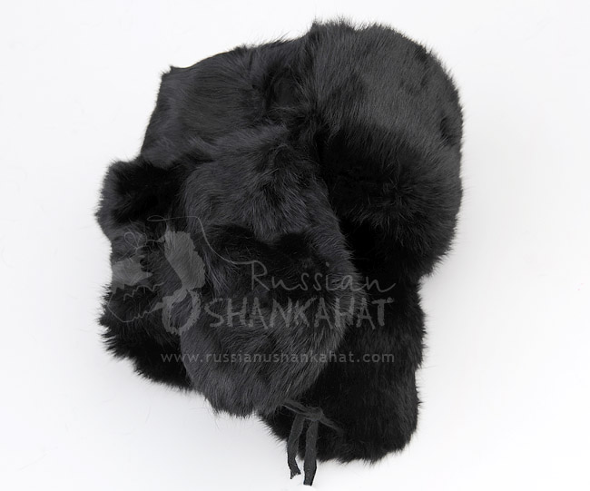 Russian Rabbit Fur Hat - Black - With Soviet Army Badge