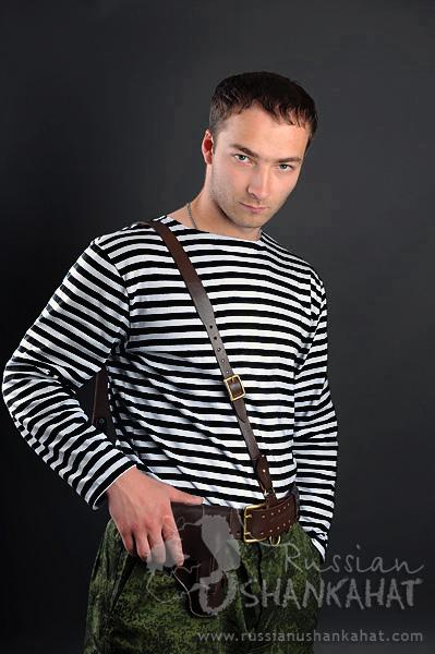 5748220f Soviet Russian Army Naval Infantry Marine Uniform Black Striped TELNYASHKA  Shirt