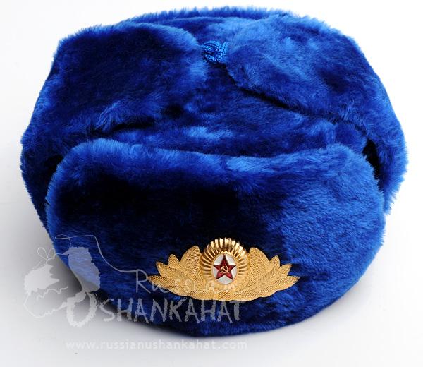 Blue Fur Hat   Russian Blue Artificial Fur Ushanka Hat + Soviet Army ... ffb406f6f752