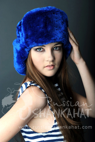 5f34dbafc9e75 Colorful Faux Fur Ushankas : Blue Fur Russian Ushanka