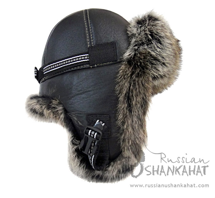 eff9ccc28d4 Rabbit   Leather Bomber Aviator Pilot Hat - Black Fur   Leather ...