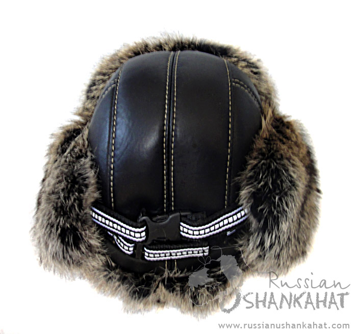 Leather Trapper / Bomber Hat - Brown Rabbit Fur