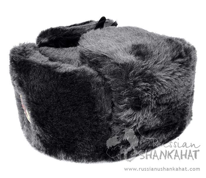 deeb58766d6 Grey Fur Hat   Faux Fur Russian Ushanka Hat - Grey (Gray) - with Badge