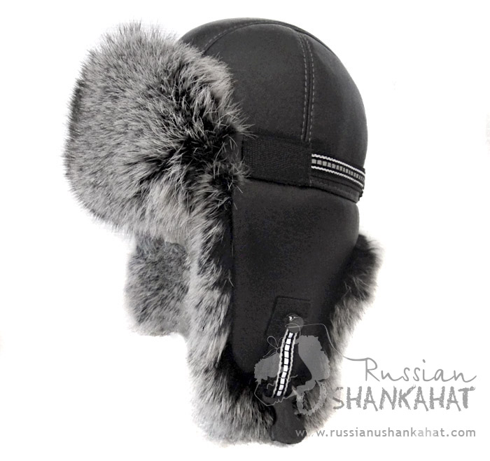 Rabbit   Leather Bomber Aviator Pilot Hat - Black Fur   Grey Rabbit ... d159dc67efc