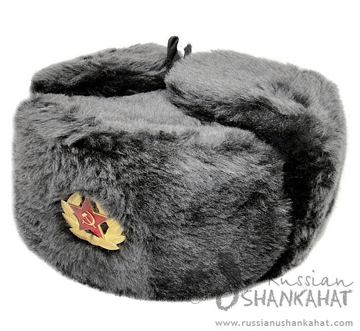 eb3c2f666ab Grey Fur Hat   Faux Fur Russian Ushanka Hat - Grey (Gray) - with Badge