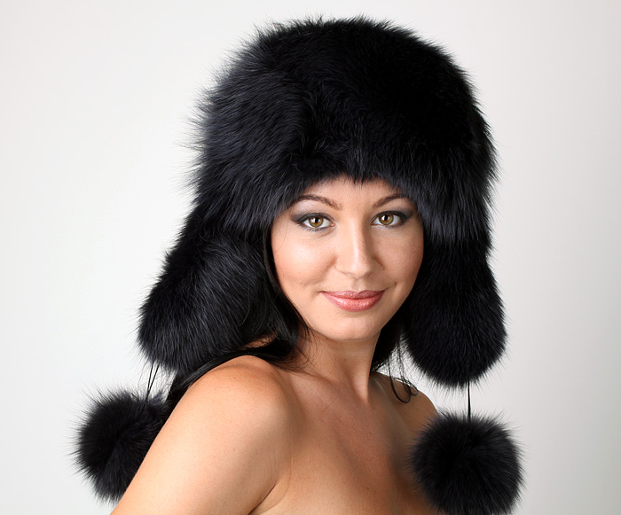 Russian Polar Fox Fur Ushanka + Poms Trapper Bomber Hat Black Ladies