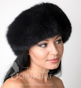 Russian Black Polar Arctic Fox Fur Boyarka Mongolka Hat Black
