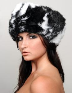 "Russian Black and White ""Butterfly"" Natural Rabbit Fur Ushanka Hat"