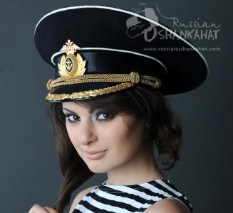 Russian Military Navy Naval Fleet Officer Captain Uniform Visor Hat Peaked Cap Black