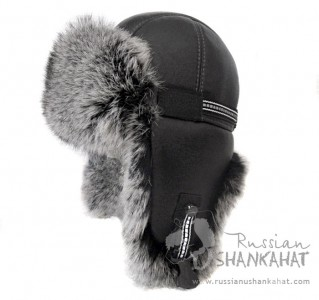 Russian Natural Grey Rabbit Fur & Leather Aviator Bomber Hat