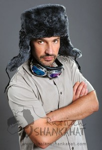 Russian Fur Hat - Army Ushanka - With Red Star Badge - Grey