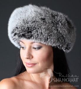 Russian Silver Polar Arctic Fox Fur Boyarka Mongolka Hat Silver