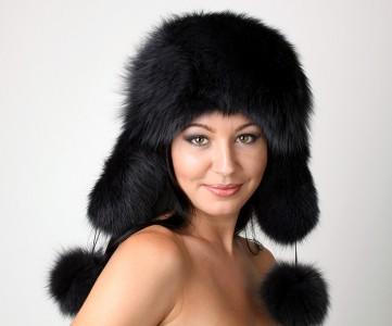 Russian Polar Fox Fur Ushanka + Poms Trapper Bomber Hat Black Ladies