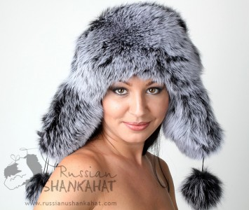 Russian Polar Fox Fur Ushanka + Poms Trapper Bomber Hat Silver Ladies