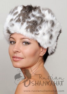 "Brown and White ""Butterfly"" Natural Rabbit Fur Russian Ushanka Hat"