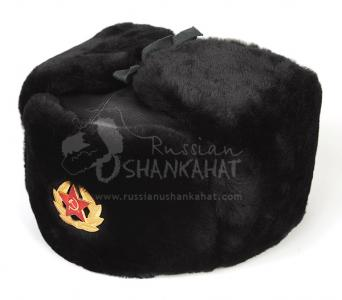 Russian Hat - Military Winter Ushanka - Mouton Sheepskin & Leather + Soviet Army Badge