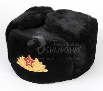Mouton Sheepskin Hat - Russian Military Ushanka + Soviet Army Parade Badge
