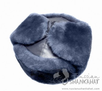 Winter Hat With Ear-Flaps - Russian Army Ushanka, Soviet Badge - Grey-Blue Sheepskin & Leather
