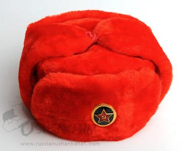 Trapper Hat - Faux Fur - Red Russian Ushanka + Marines Badge
