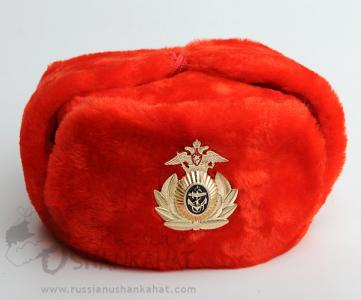 Fur Hat - Russian Ushanka (Faux Red) + Naval Badge