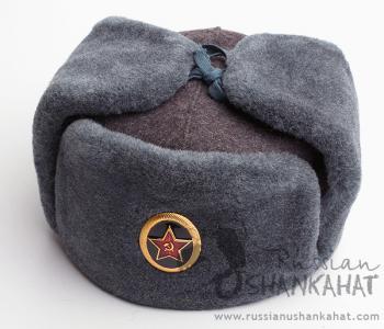 Soviet Army Fur Hat - Ushanka & Army Badge (Marines)