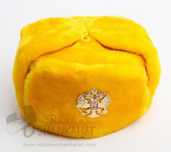 Ski Hat + Eagle Badge - Yellow Fur