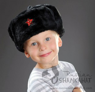 Russian Soviet Army Soldier Black Faux Fur Ushanka Trapper Hat + Badge - Kids Toddlers size
