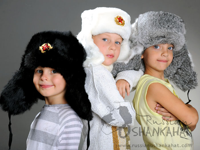 Russian Army Cossack Soldier Gray Rabbit Fur Ushanka Trapper Ski Hat + Badge - Kids size