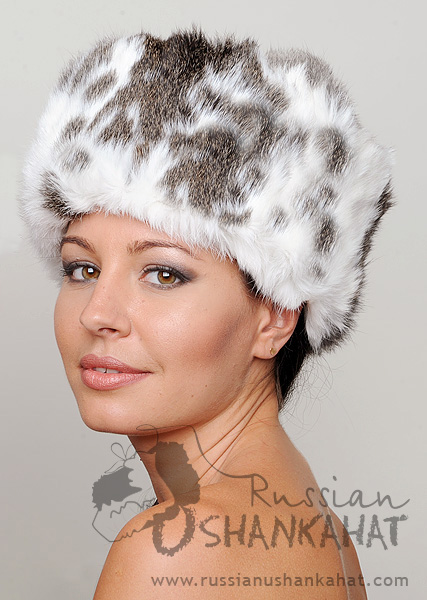 6b35bfcc985 Shapka - Ushanka Russian Hat - Brown   White Rabbit Fur   Brown and ...