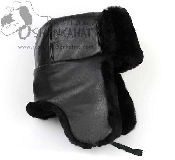 Mens Fur Hat - Black Ushanka & MVD Badge - Mouton Sheepskin