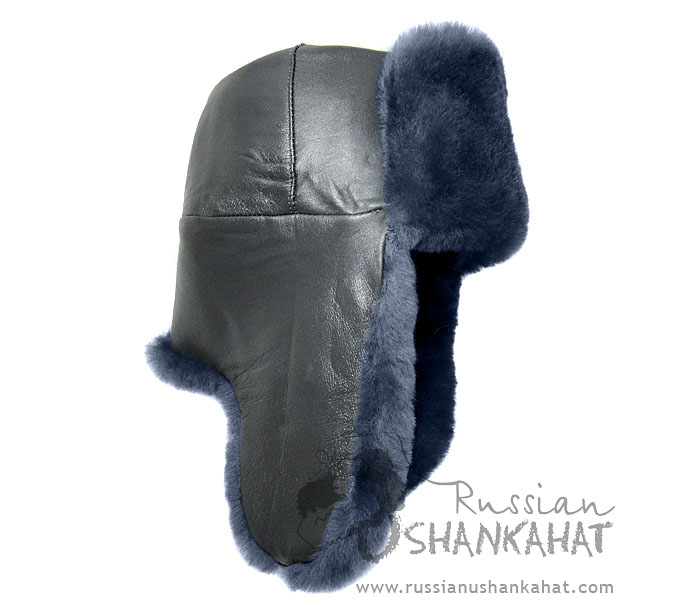 Grey Sheepskin & Leather Russian Ushanka Hat + Eagle Badge (Bomber hat)