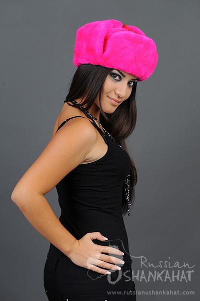 c3832b57145 Pink Fur Hat   Trapper Hat - Russian Ushanka + Officer Badge - Fucsia