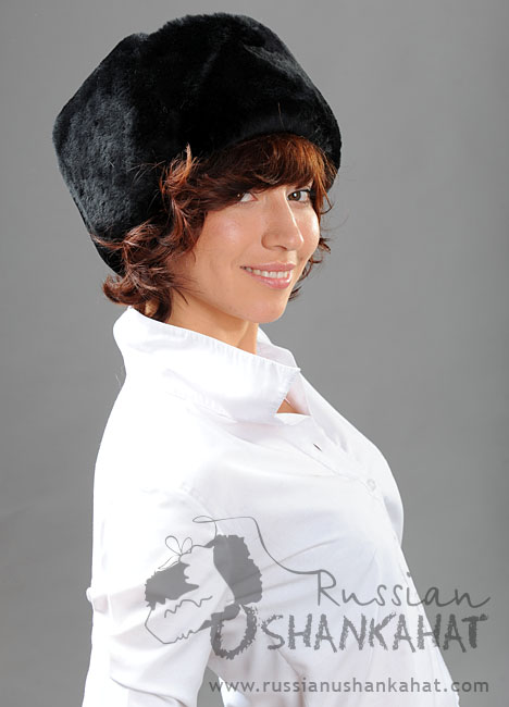 Russian Fur Hat - Full Fur Sheepskin Ushanka - Mens - Navy Badge