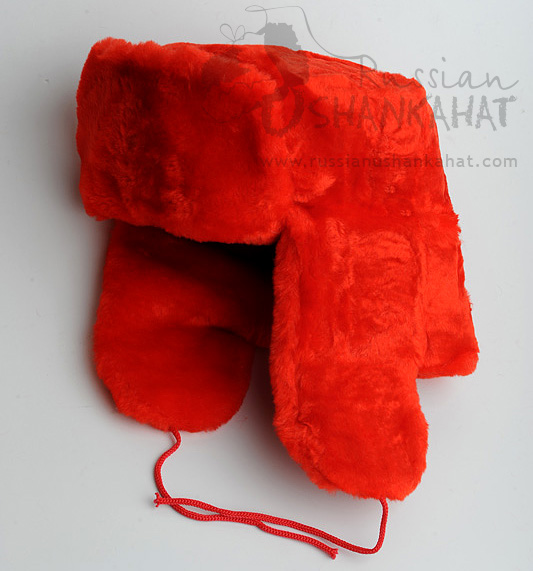 Fake Fur Hat - Red Russian Ushanka Hat + Soviet Army General Badge