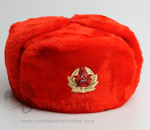 Bomber Hat - Fake Fur Ushanka - Red - Soviet Military Badge