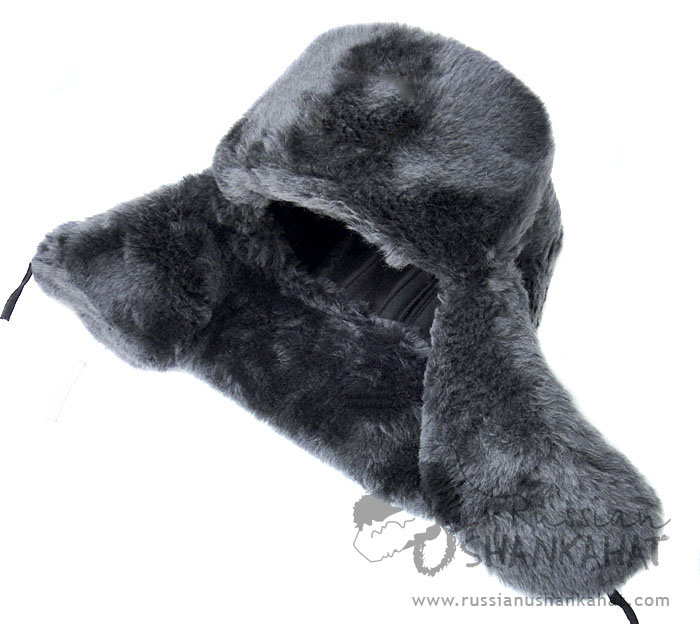Ushanka - Russian Military Fur Hat - With NAVY Badge - Grey