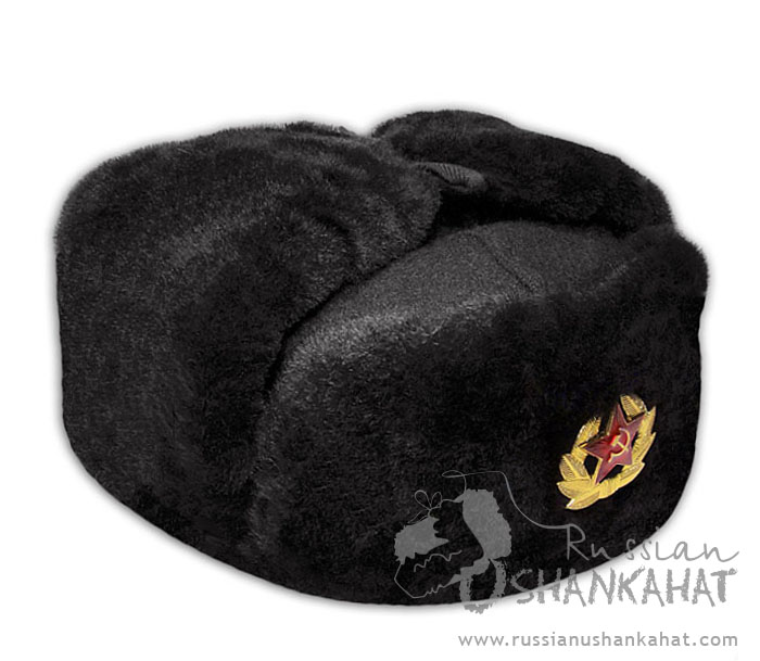 110944bbf6973 Russian Military Black Natural Sheepskin Ushanka Hat + Soviet Army Soldier  Badge