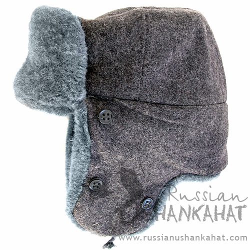 Soviet Fur Hat - Ushanka with Officer Badge
