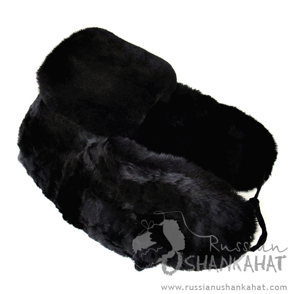 Trapper Hat - Full Fur Mouton Sheepskin  - Black Bomber Hat - with Soviet NAVY Pin Badge