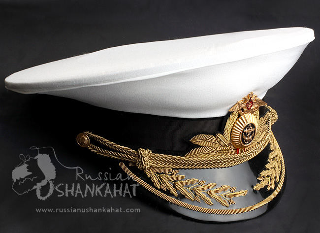 Russian Army Navy Naval Fleet Admiral Uniform Visor Hat Peaked Cap White