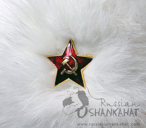 Rabbit Hat - White Fur Russian Ushanka + Red Star badge