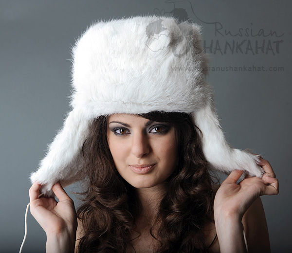 Ushanka - Rabbit Fur Russian Hat - White   Rabbit Fur Hat - White ... ab6146497e44